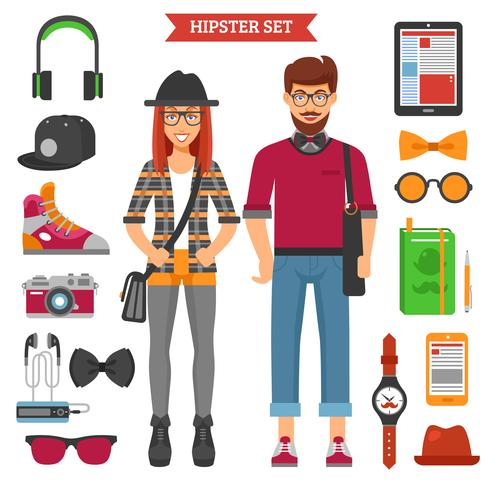 Hipster Couple Decorative Icons Set