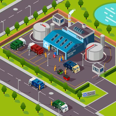 Recycling Plant Isometric Concept  vector