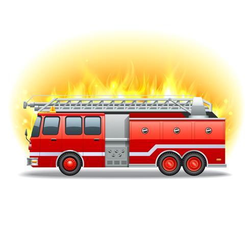 Firetruck in fuoco vettore