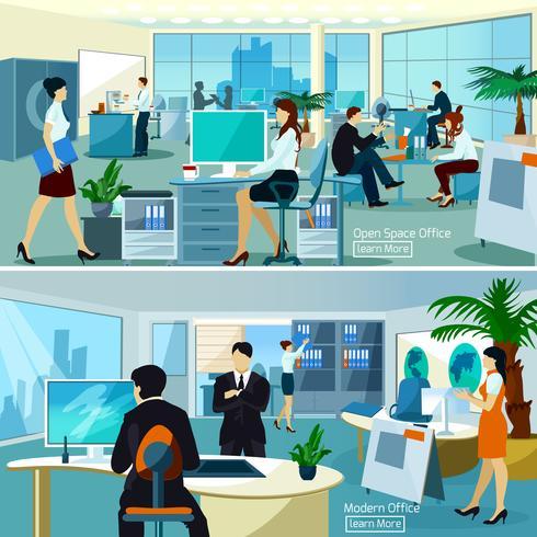 Composizioni d'ufficio con persone che lavorano