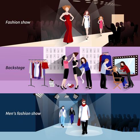 Insieme della bandiera della passerella del modello di moda