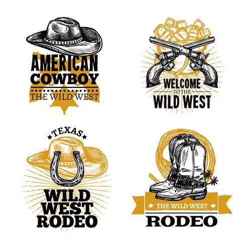 emblèmes rétro cow-boy