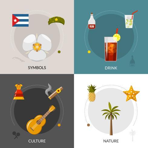 Composition de Cuba 4 icônes plates carrés