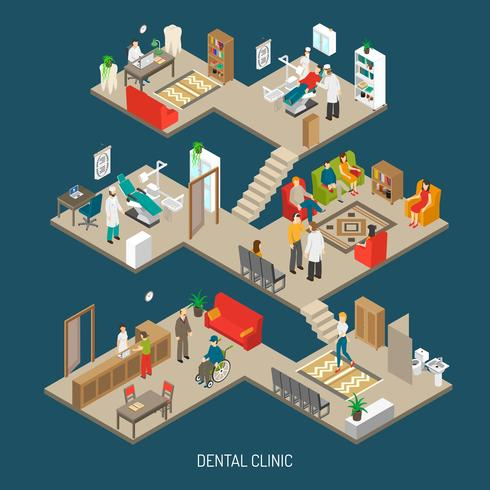 Dental Clinic Concept Isometric Banner