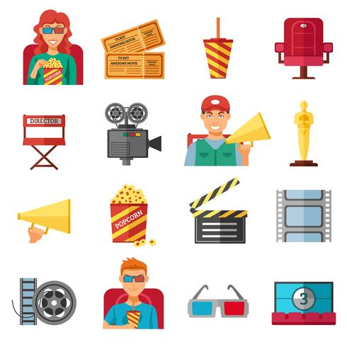 Flat Color Cinema Decorative Icons Collection  vector