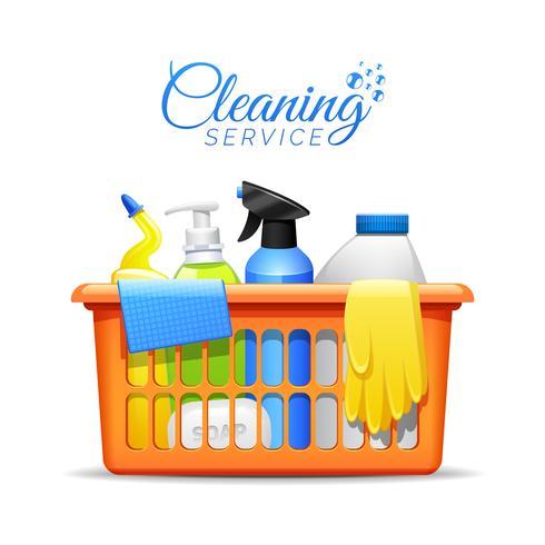 Productos de limpieza del hogar en la cesta de ilustración