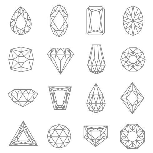 Jewels Line Icons Set