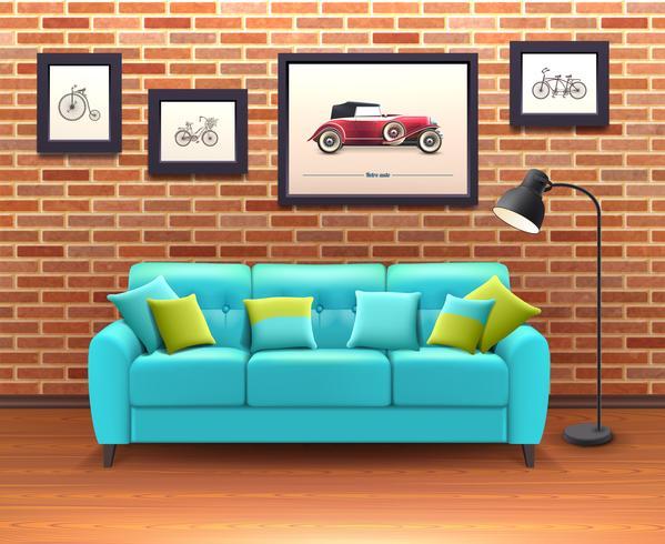 Interior Con Sofá Realista Ilustración vector