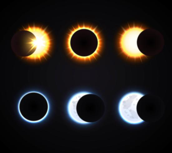 Sun And Moon Eclipse Icons Set