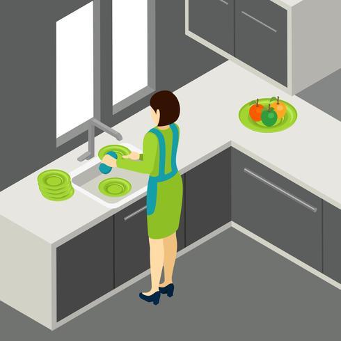 Waschen der Teller-Illustration