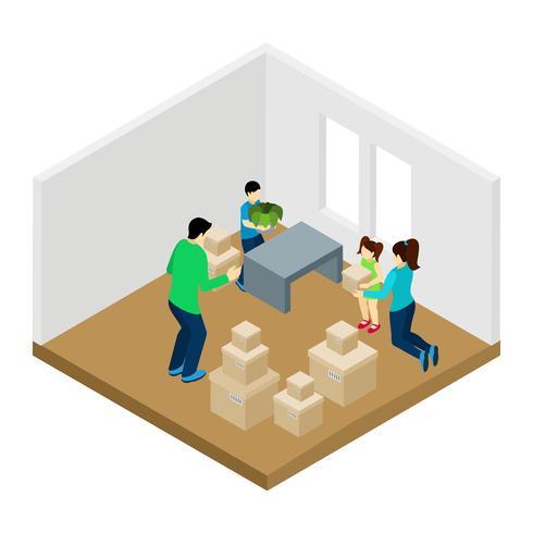Famiglia che si muove nell'illustrazione