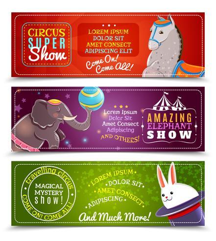 Reizende circus vlakke horizontale geplaatste banners vector