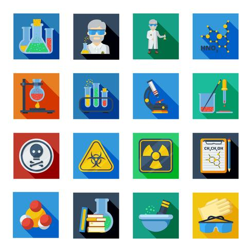 Chemie plat pictogrammen instellen in kleurrijke vierkantjes