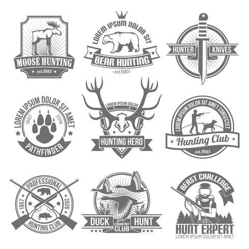 Black Hunting Emblemen Set