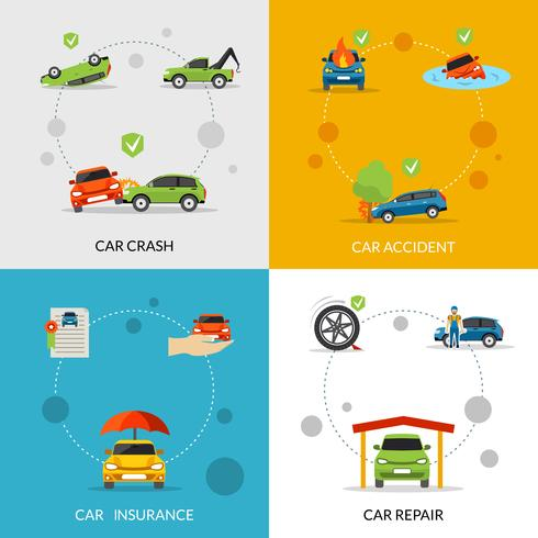 Car Insurance Set vector