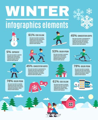 Winter Season Outdoor Infographic Elements Poster