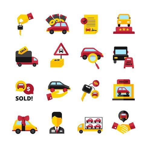Jeu d'icônes de concessionnaire automobile