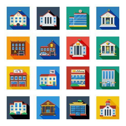 Ícones de edifícios do governo em quadrados coloridos
