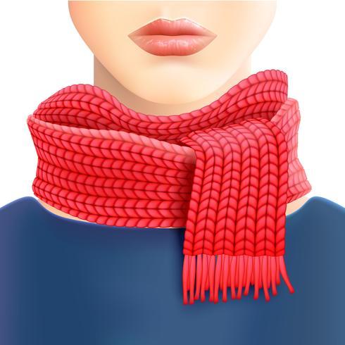 Annuncio pubblicitario della sciarpa rossa lavorata a maglia della donna