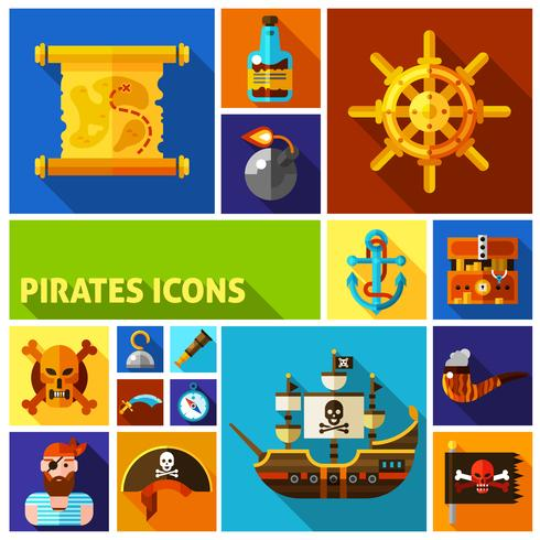 Icônes de dessin animé plat Pirates