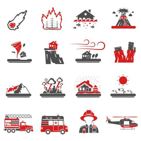 Natuurramp Red Black Icons Collection vector