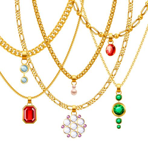 Golden Chains With Pendants Set vector