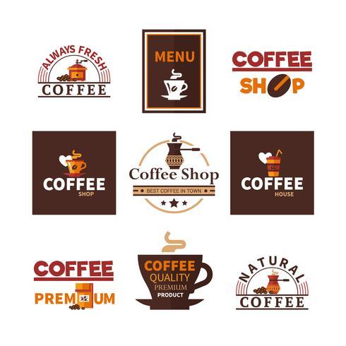 Coffee Shop Cafe Design Collection d'emblèmes vecteur