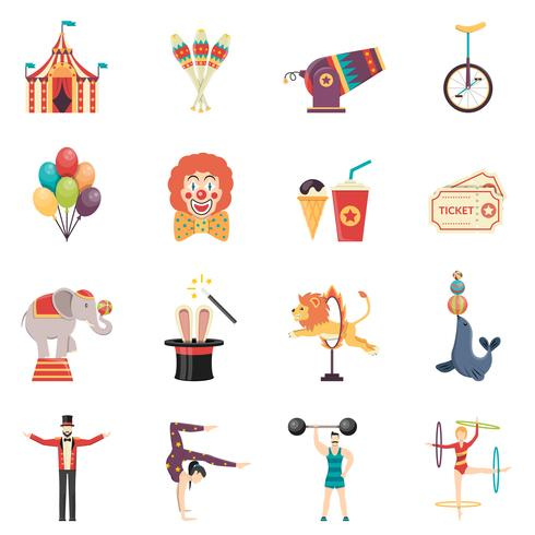 Circus Performance Flat Color Icons Set vector
