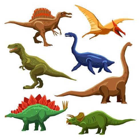 Iconos de colores de dinosaurios Iet vector
