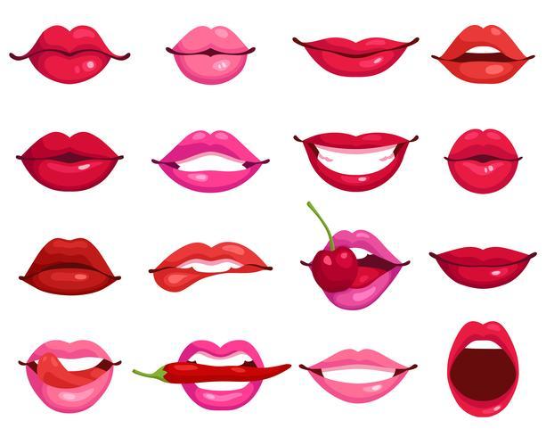 Lèvres Cartoon Set vecteur