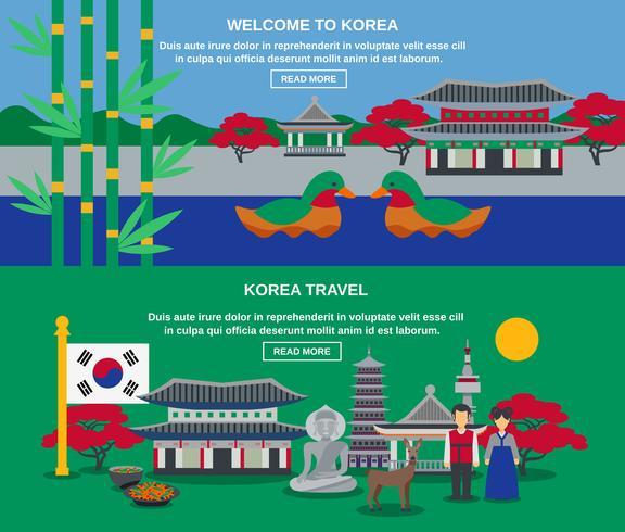 Set di bandiere orizzontali viaggio cultura coreana
