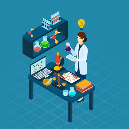 Scientist At Work Profession Isometric Banner vector