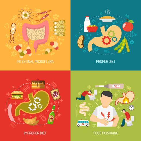 Digestion Concept Icons Set