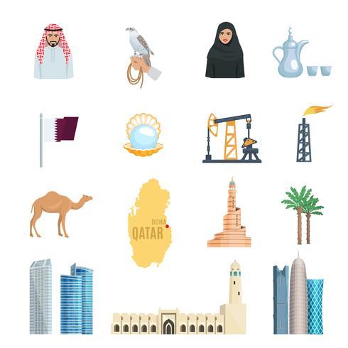 ensemble d'icônes plat qatar