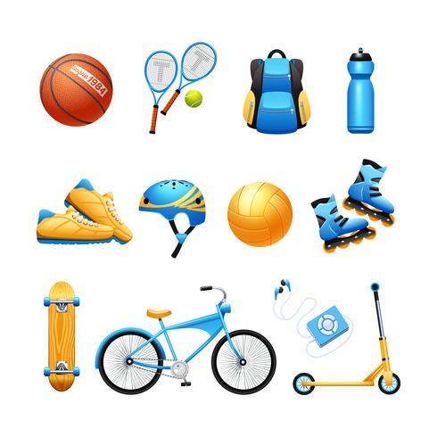 Icone piane dell'attrezzatura di sport dell'estate messe