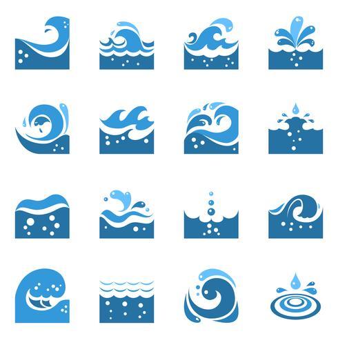Blaue Welle Icons Set