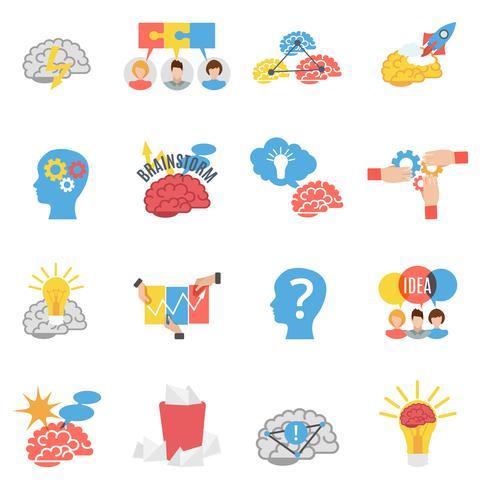 Brainstorm creatieve plat pictogrammen instellen