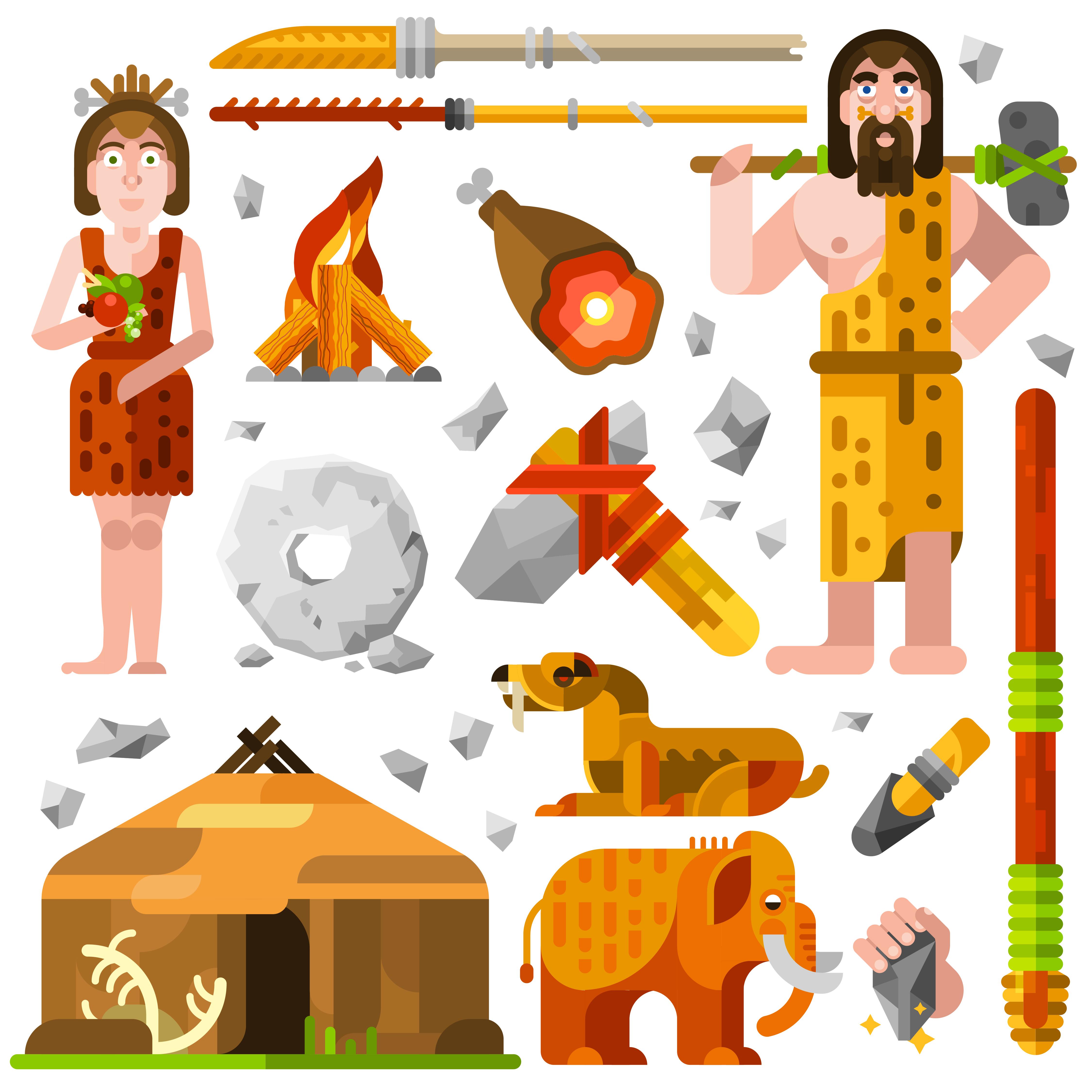 Icones De Homem Das Cavernas Pre Historicas Da Idade Da Pedra