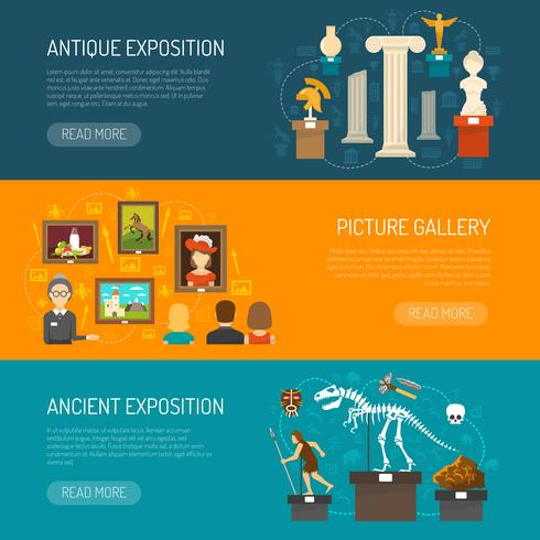 Museum Horizontal Banners vector