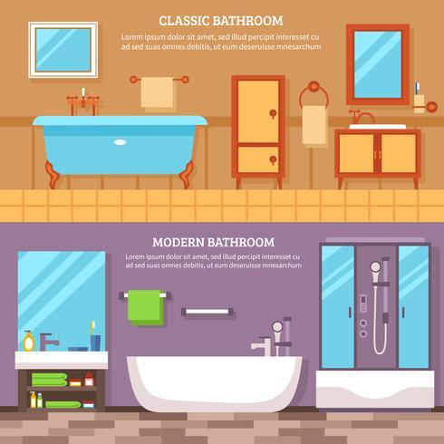 Ensemble de bannière intérieur de salle de bain vecteur