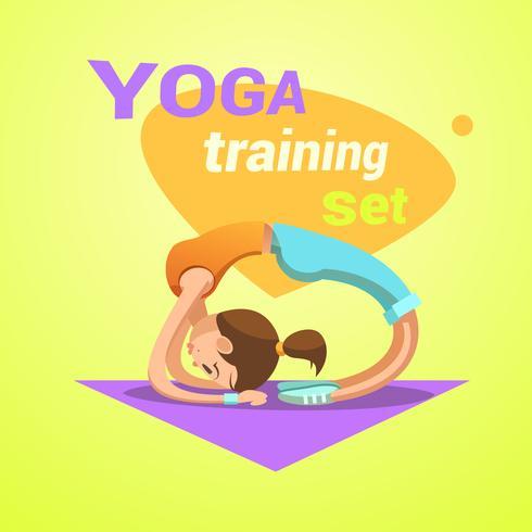 Dibujos animados de yoga retro vector