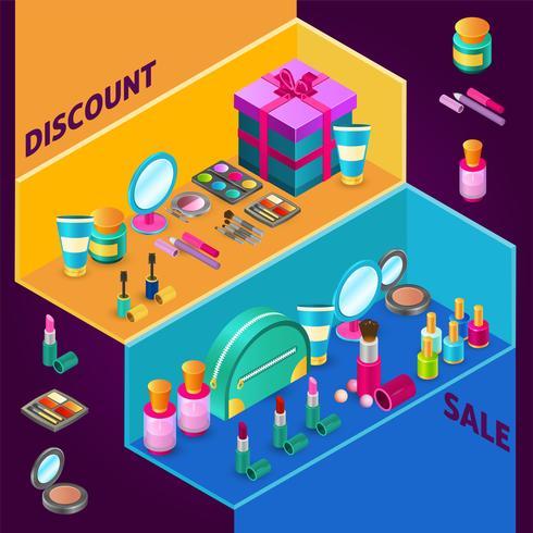 Cosmetics Isometric Composition vector