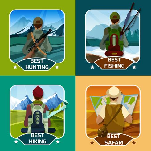 Hunting Hking 4 flat Icons Square