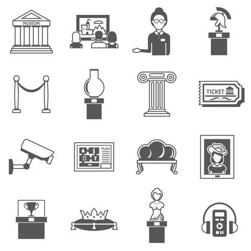 Museum Decorative Black Icons Set vector