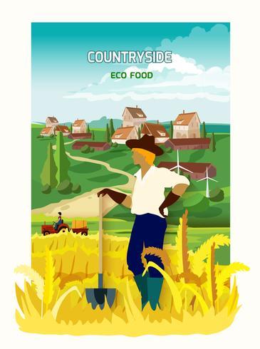 Jordbrukare i lantlig bakgrundsaffisch