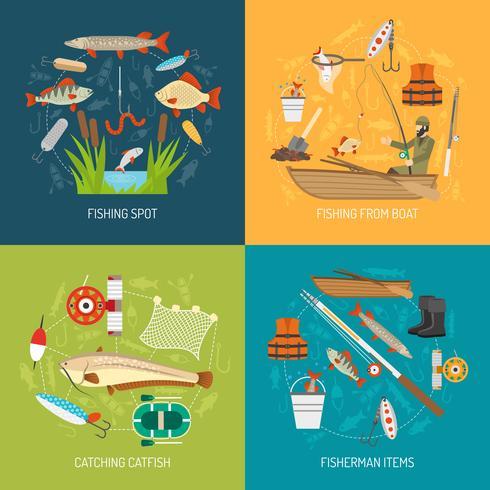 Concept d'icônes de pêche vecteur
