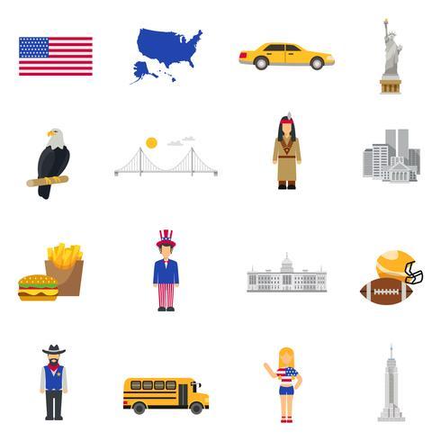 Conjunto de iconos planos de los símbolos de la cultura de Estados Unidos