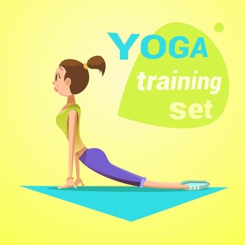 Retro Karikatur des Yoga