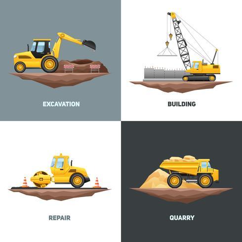 Place des machines de construction 4 icônes plat vecteur