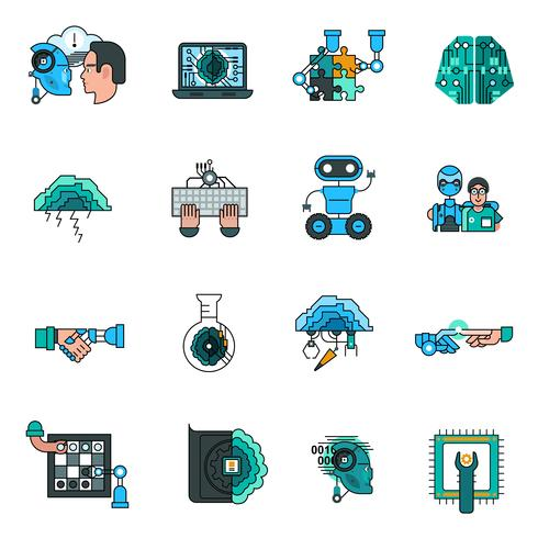 Artificial Intelligence Line Icons Set  vector